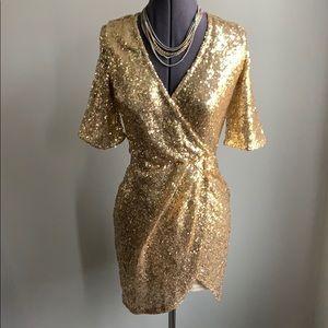 Gold Sequin Peekaboo Back Dress